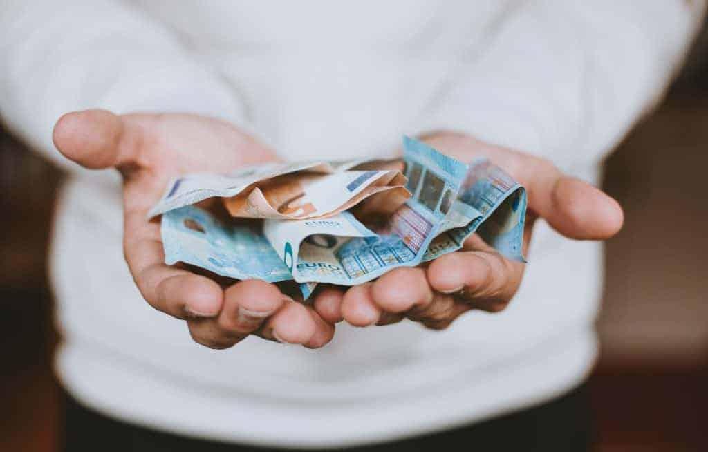 Money in palms