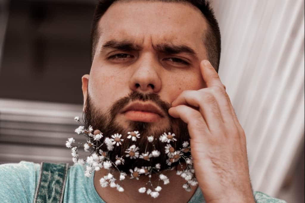 flower-bearded man