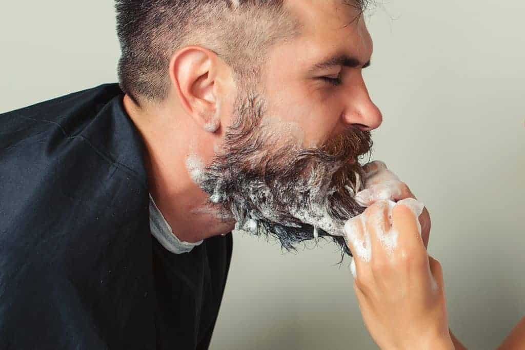 Beard is washed with beard shampoo