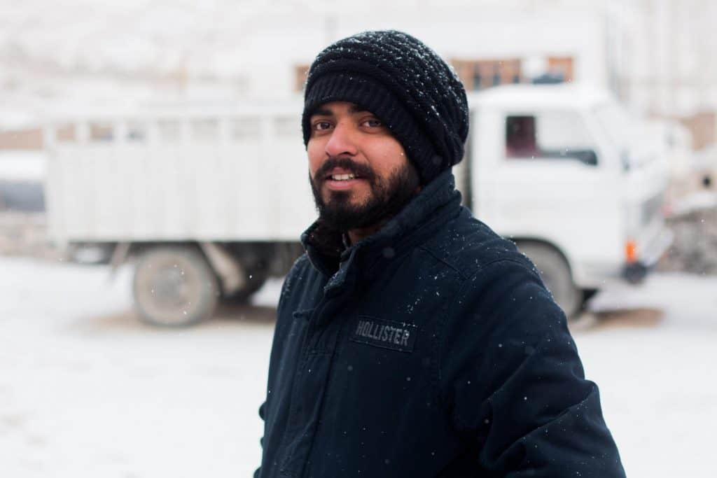 Man with beard in winter