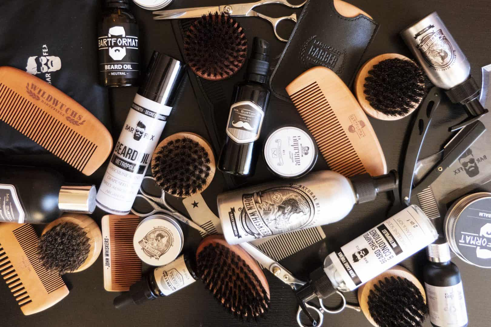 Ganz viele Bartpflegeprodukte aus Bartpflegesets