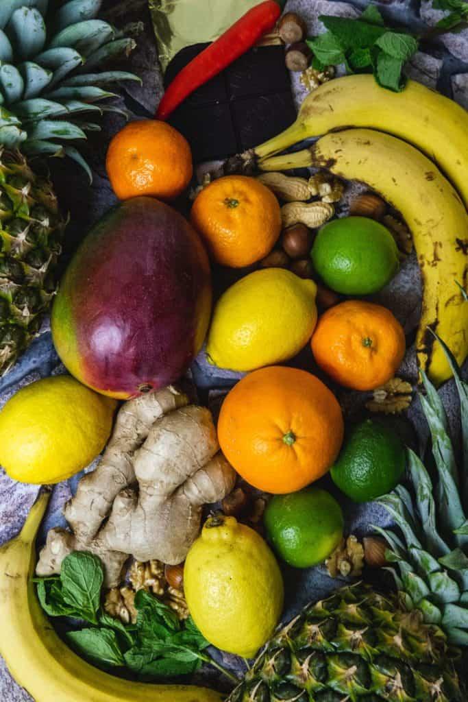 Obst und Ingwer